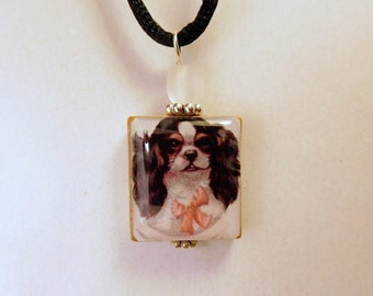 CAVALIER King Charles Jewelry / Scrabble Pendant / Necklace with Cord / Vintage Dog Art
