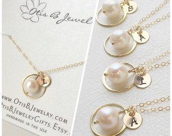 Personalized Pearl necklace, Initial necklace, June birthstone, geo necklace, Bridesmaid gifts, bridal jewelry, bridesmaid jewelry
