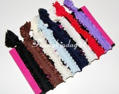 8 Fall Winter Double Ruffle Satin Hair Ties Elastic Ruffly Bracelet Bands No Dent White Red Black Brown Ivory Navy Blue Purple Autumn