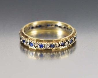Art Deco Wedding Band, White Blue Topaz Wedding Band Ring, Antique Gold Ring, Anniversary Gift Birthstone Stacking Wedding Eternity Band
