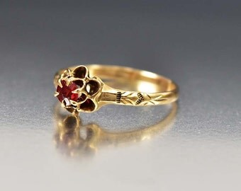 Victorian Engagement Ring, Antique Ruby Ring, Rose Gold Buttercup Ring, Alternative Engagement Ring, July Birthstone Ring, Stacking Ring