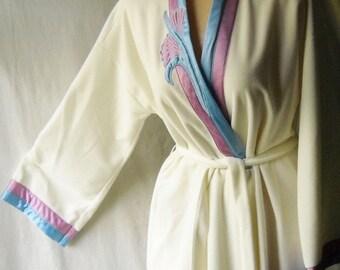 Vintage Robe Vanity Fair Robe Wrap Style Robe Velour Dressing Gown