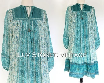 Vintage 70s Indian Tent Tunic Boho Hippie Cotton Gauze Gypsy India Festival Midi Dress | ML | 1136.10.13.15