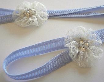Something Blue Garter, Blue Garter, Bridal Garter, Wedding Garter, Toss Garter, Lace Flower Garter, Chantilly Lace Flower, Stretch Garter