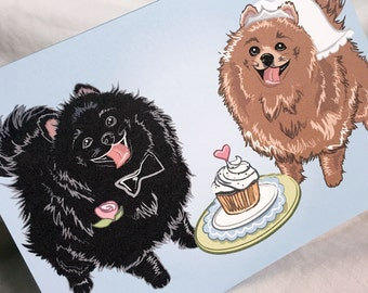 Wedding Pomeranians - Greeting Card