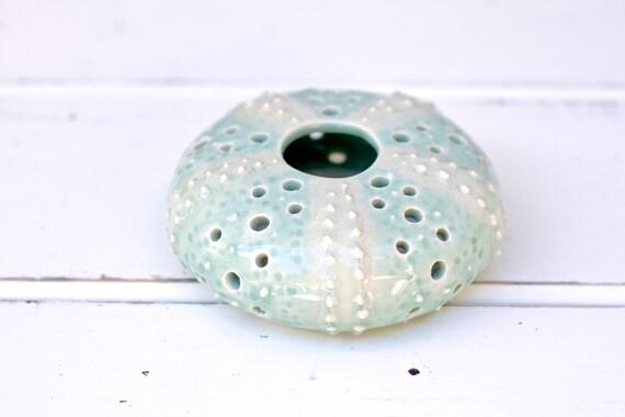 medium urchin wall hanging, urchin tabletop sculpture, pale blue