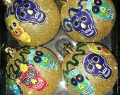 Day of the Dead, Sugar Skulls Christmas Ornaments, Gold