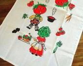 Anthropomorphic Vegetable Vintage Towel - Unused Cotton Kitchen Tea Towel with Salad Head Couple