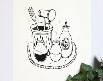 Folk Art Kitchen Relief Print • Wall Decor • Black & White • Original Art