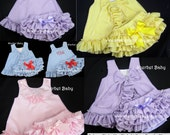Gingham Check Ruffled Pinafore and Sassy Pants Diaper Cover Bloomers Sundress Sunsuit  Lavender Green Yellow Pink Hot Pink Blue Red