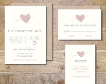 Printable Wedding Invitations, DIY Wedding Invitation, Wedding Invite, Rustic Wedding Invitation, PDF, JPEG, Vintage Wedding - Rustic Arrows
