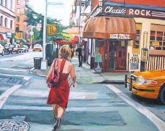 New York Art Red Dress On Bleecker Street, Wall Fine Art Print, figure The Back Fence Painting by Gwen Meyerson