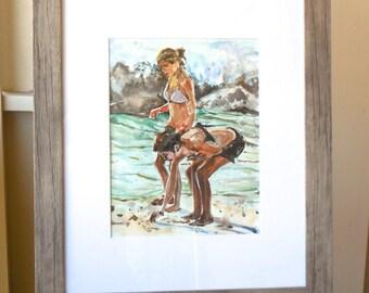 Beach Art Beachcombers Original Watercolor Painting, Picking Shells Girls on Beach, Friendship Friends summer by Gwen Meyerson