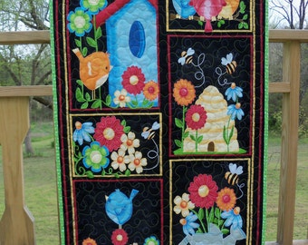 Wall Hanging Birds and Bees Door Banner Quilted Room Decor Summer Wall Art