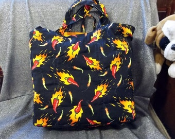 Cotton Shopping Tote Bag, Fire Hot Chile Peppers on Black Print