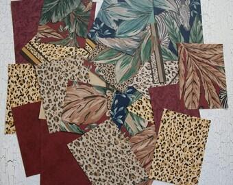 Leopard Jungle Safari Vintage Wallpaper Scrap Pack 27 Pcs. Lot of Wallpaper Scraps Small Scrapbooking,  FREE SHIPPING