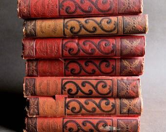 Jules Verne Hetzel Hachette Paris Set of 7 Antique Books, Red Black Gold Book Covers, Antique Books