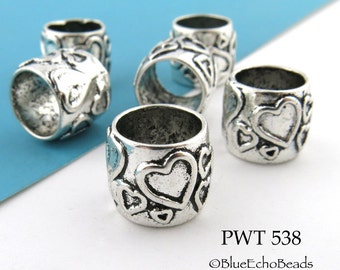 Large Hole Pewter Tube Beads with Hearts Antique Silver 13mm (PWT 538) 6 pcs BlueEchoBeads