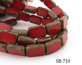 12mm Red Rectangle Czech Glass Beads Window Cut Red Table Cut Picasso Edge 8x12mm (SB 710) 10 pcs BlueEchoBeads