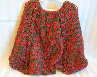 Red and Green Little Girl's Christmas Poncho. Soft Hand Knit Cape. Bright Red. Bright Green. Silver Thread. Holiday Knit Poncho. Sweater.