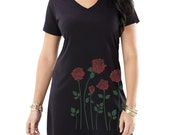 Red Roses T-shirt Dress, Roses Print, Black Dress, PLUS Size, Gift for her