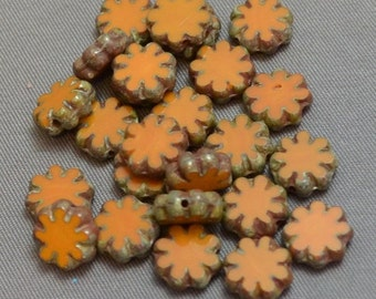 Mustard Flower Flat Cactus Flower Beads Picasso Edge 9mm (6)