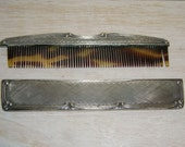Antique COMB Victorian CASE Silver Plated 1800's Tortoise Celluloid etched chased engraved
