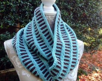 Hand Knit Turquoise Chocolate Double Wrap Cowl