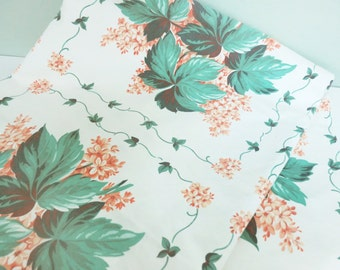 Vintage Tablecloth with Oakleaf Hydrangeas, Nine Squares of Pretty Coral Flowers and Green Leaves