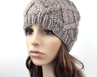 Hand Knit Hat woman hat winter hat wool Beret Hat wheat Beanie taupe hat