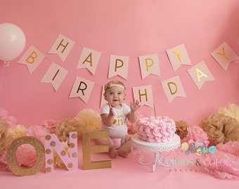 Rosette Fake Cake For First Birthday Photo Shoot. Fab Photo Prop, Birthday Decor, Shabby Chic Decor for your Kitchen