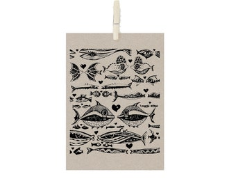 Fish in Love - A5 Recycled Art Print