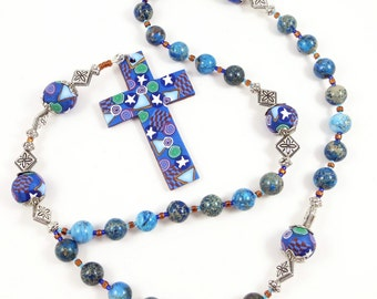 Imperial Blue Jasper Anglican Rosary Prayer Beads Episcopal Polymer Clay Canework Protestant Handmade Cross Spirituality & Religion
