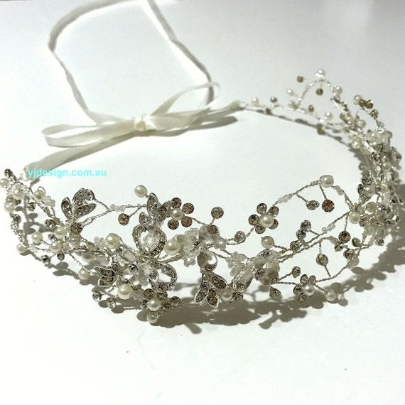 Silver Bridal Hair Vine, Floral Bridal Crown, Bridal Halo, Wedding Wreath, Crystal Pearl Bridal Headpiece, CLEMATIS Flower Wedding Tiara