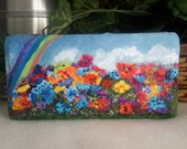 Pansies Art, Garden Flower Image, Painting On Brick, Painted Doorstop, Functional Art, Painted Paver, Acrylic Painting, Collectible Art