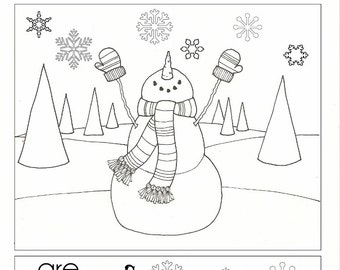 Snowflakes are Kisses from Heaven - Coloring Page - PDF - Instant Download