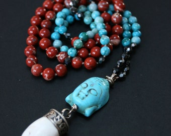 Zen-Buddha-Boho Chic-Tibetan Pendant-Mala type handknotted beaded jasper necklace