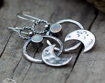 Ethiopian Opal and moon earrings in sterling silver - Under the Opal Moon -