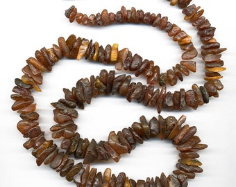 """Natural Genuine Baltic Amber Bead Strand 33.75"""" Rough Unpolished Cognac Graduated Nuggets"""