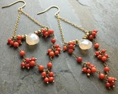 PENELOPE-Moon Opal Chalcedony Teardrop with Gold Chain and Orange Stones