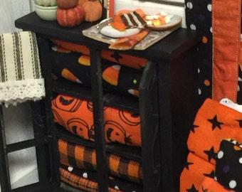 Halloween Miniature Dollhouse Quilt and Linen Hutch with Accessories-1:12 scale