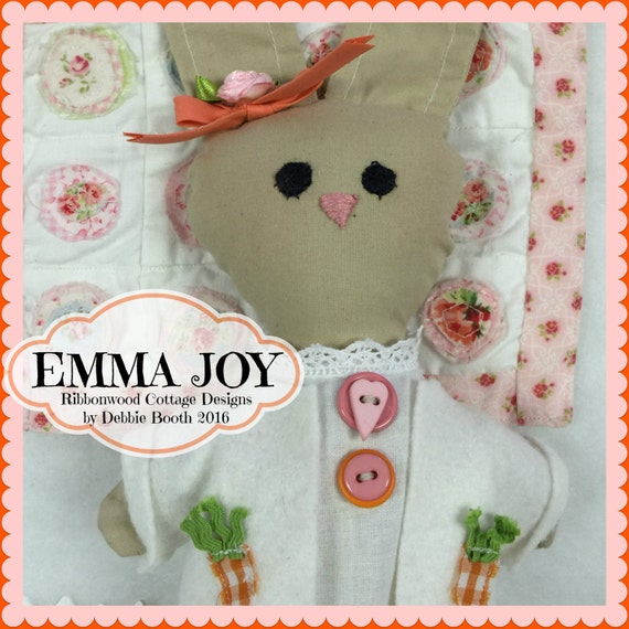 Sewing Pattern PDF Emma Joy Bunny Doll 10 1/2 inches and Outfit Pattern