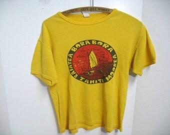 Vintage Bora Bora Tahiti Sailing T-Shirt Outrigger Boating Tourist Souvenir Travel Shirt