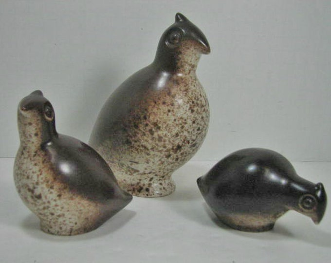 Howard Pierce Quail Family, 3 Mid Century Vintage Ceramic Bird Sculptures