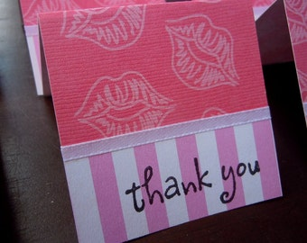 Pretty Pink Lips on Pink Card Stock Mini Thank You Cards 2x2 (6)