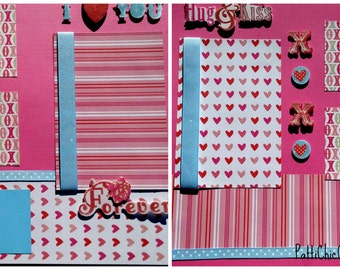 SALE! Love Hugs and Kisses, 12 x 12, Pre-Made Scrapbook Album Pages, Set of 2, Love Marriage Anniversary pink blue white red