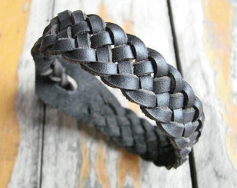 Celtic Weave of Life Black Spanish Leather Cuff -- Braided Leather Bracelet Wristband
