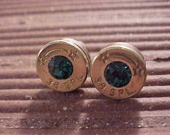 Sterling Silver Bullet Earrings 38 Special Emerald Swarovski Crystal - Free Shipping to USA