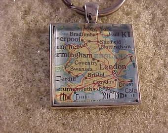 Atlas Map Key Chain / England Key Ring / Map Key Ring / United Kingdom Key Ring