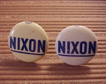 Nixon Cuff Links Campaign Pin Vintage Political Pinback Button - Free Shipping to USA